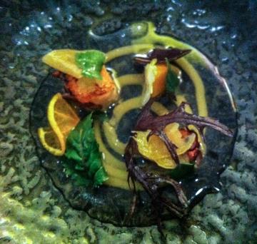 Poulpe rôti, condiments aux agrumes et jus de pomme verte.